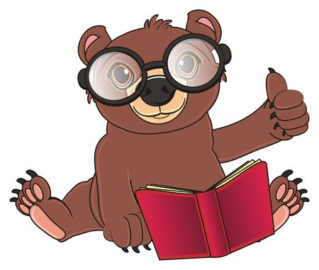 bear sit with a book in glasses and show gesture cool