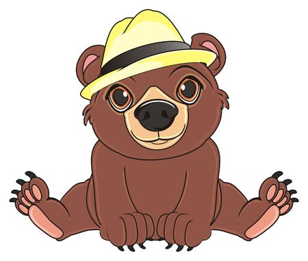 brown bear in beige hat sit Stock Photo