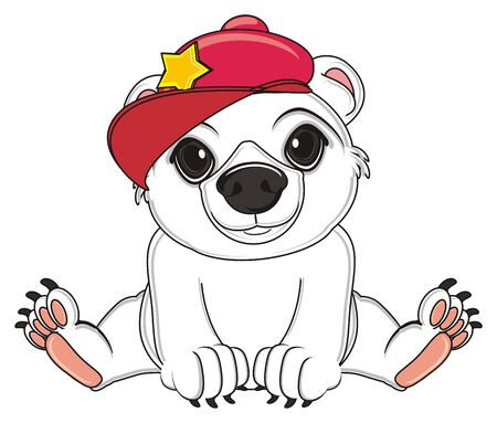 whire bear in red cap sit