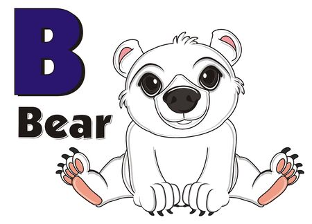 floe: white bear sit with word bear and letter b Stock Photo