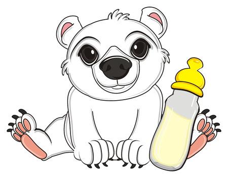 floe: white bear sit with bottle of milk Stock Photo