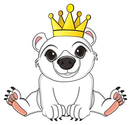 white bear in golden crown Stock Photo