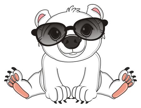 floe: white bear inblack sunglasses sit