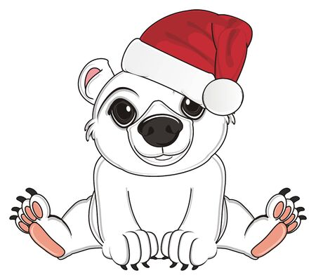 white bear in red hat sit