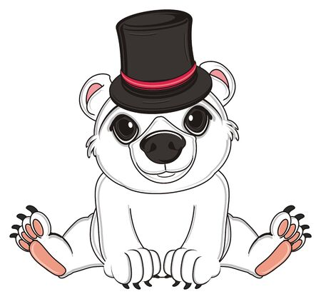 white bear in black hat sit