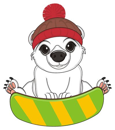 white bear in hat sit with snowboard
