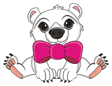 white bear with large pink bow