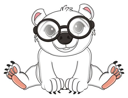 white polar bear in black glasses sit
