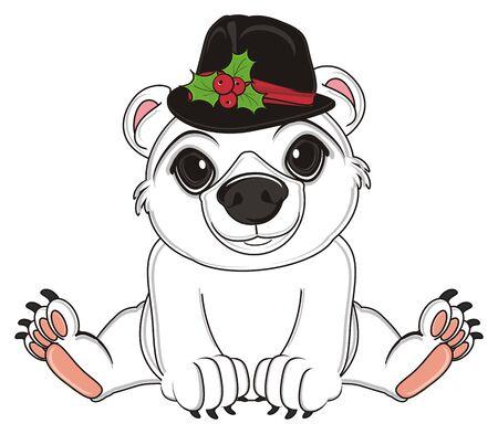 floe: white polar bear in black hat sit