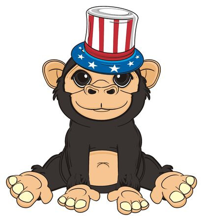 jungle vines: monkey in hat with USA flag sit Stock Photo