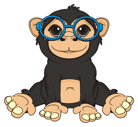 funny monkey in blue glasses sit