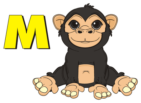 jungle vines: happy monkey sit with letter m Stock Photo