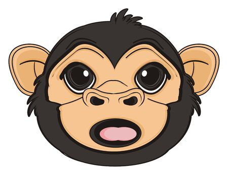 snout of monkey with opened mouth