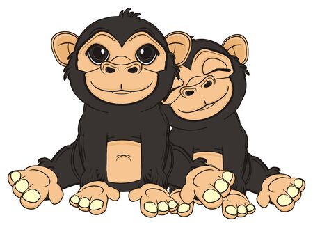 jungle vines: two smiling monkey sit