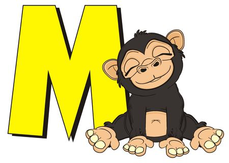 sleeping monkey sit with yellow large letter M