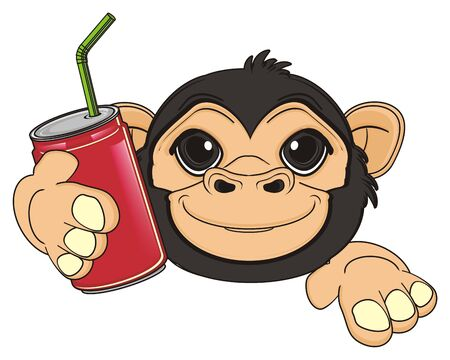 lata de refresco: snout of monkey with soda can