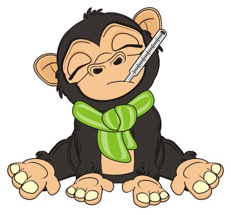 jungle vines: sick moneky sit and hold thermometr Stock Photo