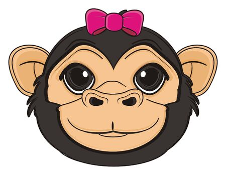 muzzle of monkey with pink bow