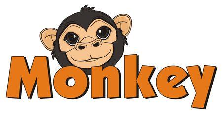 snout of monkey peek up from word monkey