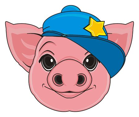 oink: snout of pig in blue cap