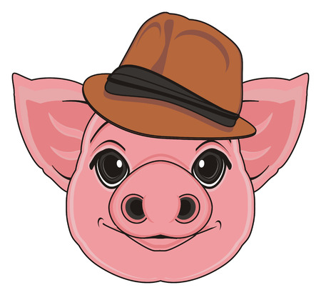 oink: muzzle of pig in brown hat