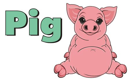 oink: pig sit with word pig