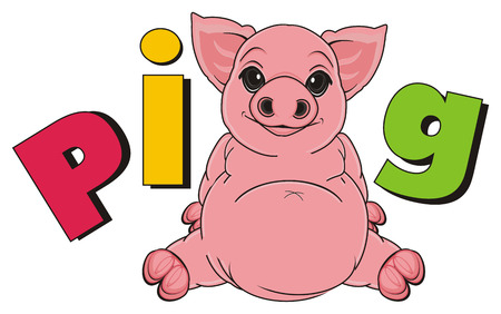 oink: pig sit with colorful letters pig