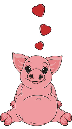 oink: pig in love sit Stock Photo