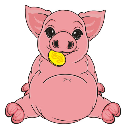 pig sit and hold a golden cent on her mouth