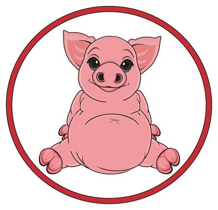 oink: pig on the middle of red round road sign