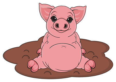pig sit on puddle of mud Stock Photo