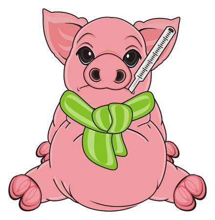 sad sick pig sit