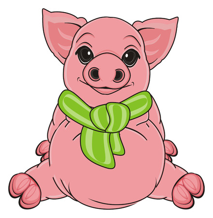 oink: pig with green scarf sit