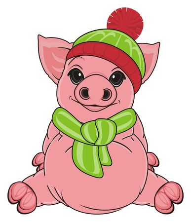 pig in warm winter clothes sit Stock Photo