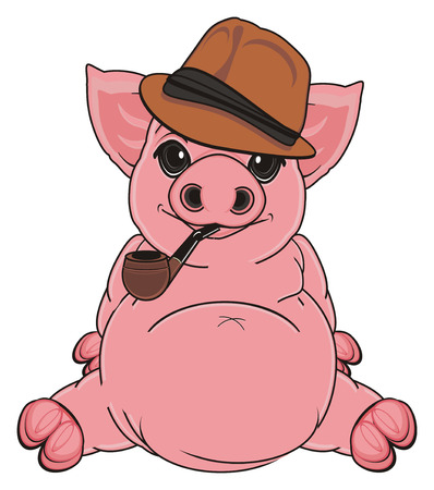 oink: pig in brown hat sit and hold a pipe
