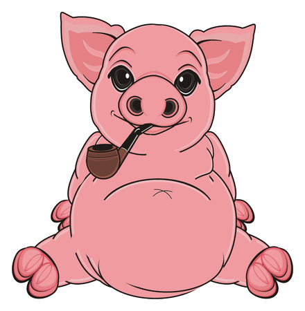 pig sit and hold on her mouth a pipe