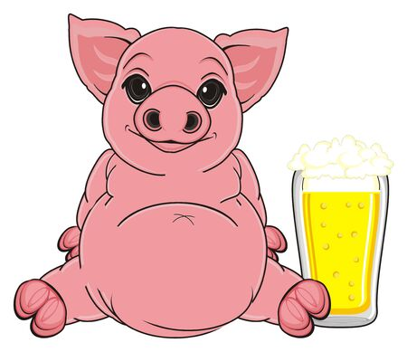 oink: pig sit with glass of beer Stock Photo
