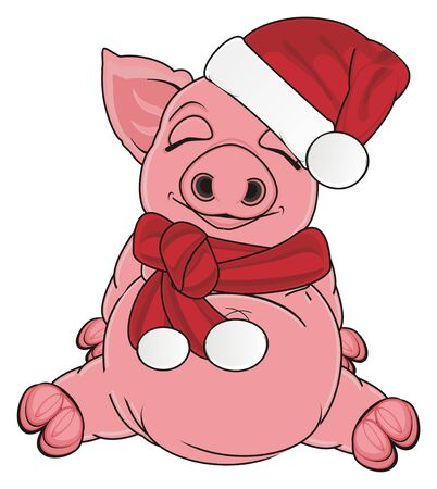 oink: sleeping pig in new year clothes