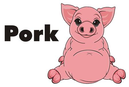pig sit with black word pork