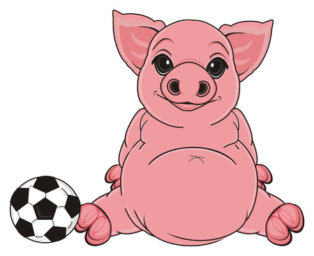 pig sit with soccer ball