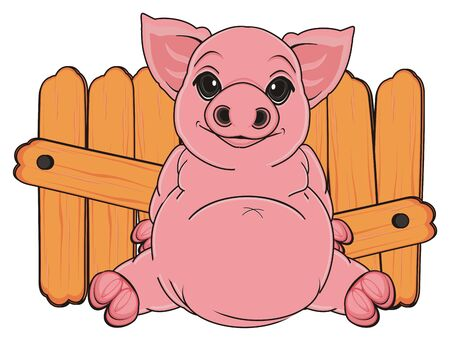 smiling pig sit near the wooden fence