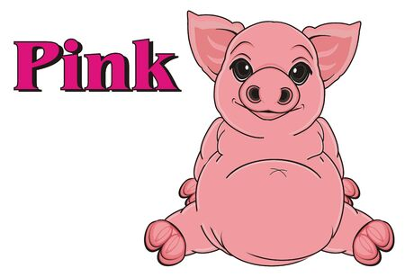 oink: smiling pig sit with pink word pink Stock Photo