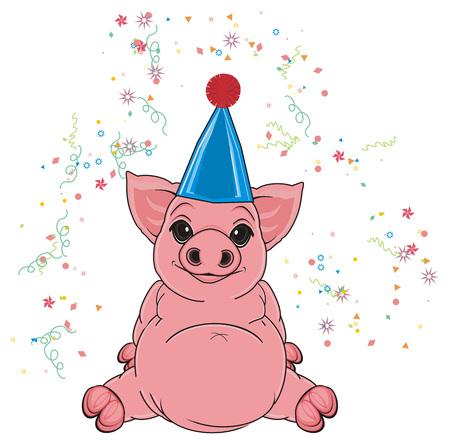 fly around: pig in cap sit around a fireworks