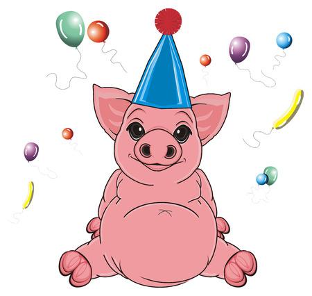 oink: pig in cap sit around air balloons