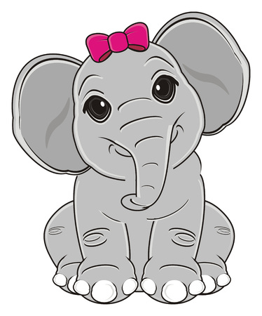 elephant girl with pink bow sit