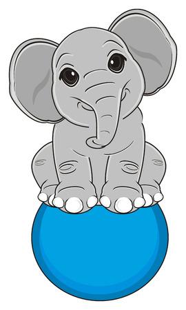 elephant sit on the ball