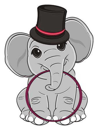 elephant in black hat sit and hold a hoop