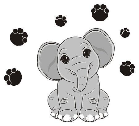 elephant sit around a lot of black footprint