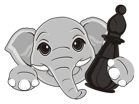 muzzle of elephant with black chess figure Stock Photo