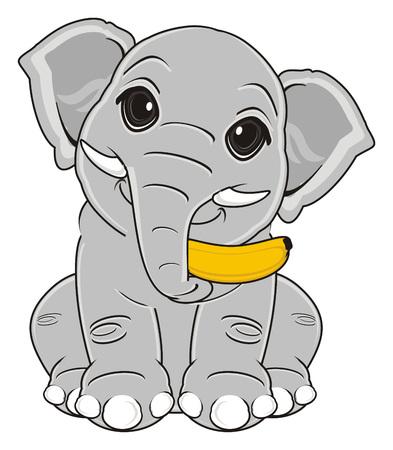 elephant sit and hold a banana